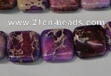 CDI717 15.5 inches 16*16mm square dyed imperial jasper beads