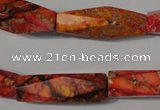 CDI744 15.5 inches 8*30mm faceted rice dyed imperial jasper beads