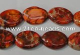 CDI751 15.5 inches 13*18mm oval dyed imperial jasper beads