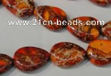 CDI754 15.5 inches 13*18mm flat teardrop dyed imperial jasper beads