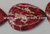 CDI790 15.5 inches 30*40mm flat teardrop dyed imperial jasper beads