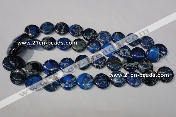 CDI908 15.5 inches 20mm flat round dyed imperial jasper beads