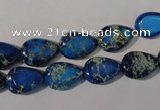 CDI915 15.5 inches 9*13mm flat teardrop dyed imperial jasper beads