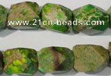 CDI932 15.5 inches 13*17mm faceted nuggets dyed imperial jasper beads
