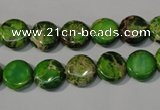 CDI936 15.5 inches 10mm flat round dyed imperial jasper beads
