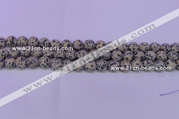 CDM84 15.5 inches 12mm round matte dalmatian jasper beads