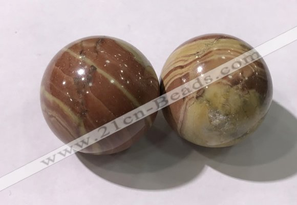 CDN1274 40mm round red picture jasper decorations wholesale