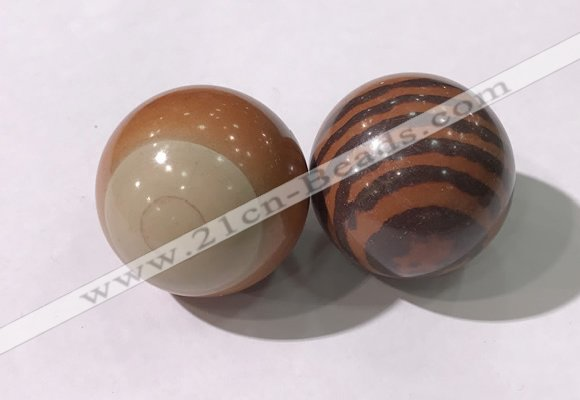 CDN1292 40mm round red picture jasper decorations wholesale