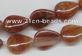 CDQ25 15.5 inches 13*18mm flat teardrop natural red quartz beads