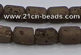 CDQ610 8 inches 6*8mm drum druzy quartz beads wholesale