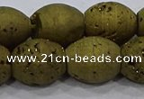 CDQ636 8 inches 12*14mm rice druzy quartz beads wholesale