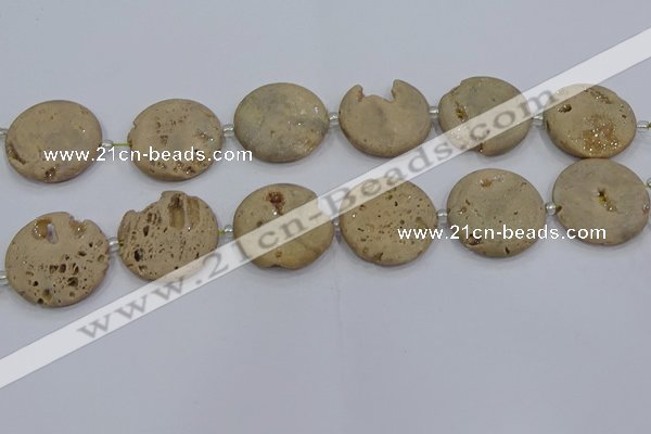CDQ677 8 inches 30mm flat round druzy quartz beads wholesale
