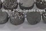 CDQ702 8 inches 12mm coin druzy quartz beads wholesale