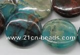 CDS15 16 inches 25mm flat round dyed serpentine jasper beads wholesale