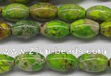 CDT147 15.5 inches 10*15mm rice dyed aqua terra jasper beads