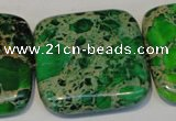 CDT196 15.5 inches 34*34mm square dyed aqua terra jasper beads