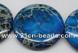 CDT310 15.5 inches 40mm flat round dyed aqua terra jasper beads