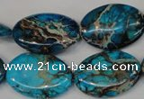 CDT317 15.5 inches 18*25mm oval dyed aqua terra jasper beads