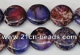 CDT408 15.5 inches 16mm flat round dyed aqua terra jasper beads