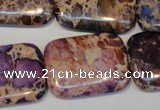 CDT440 15.5 inches 20*30mm rectangle dyed aqua terra jasper beads