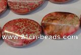 CDT575 15.5 inches 18*25mm twisted oval dyed aqua terra jasper beads