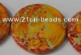 CDT758 15.5 inches 40mm flat round dyed aqua terra jasper beads