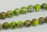 CDT83 15.5 inches 8mm round dyed aqua terra jasper beads