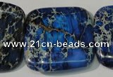 CDT903 15.5 inches 34*34mm square dyed aqua terra jasper beads