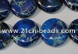 CDT908 15.5 inches 20mm flat round dyed aqua terra jasper beads