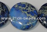 CDT909 15.5 inches 35mm flat round dyed aqua terra jasper beads