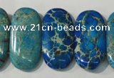 CDT917 15.5 inches 15*30mm oval double drilled dyed aqua terra jasper beads