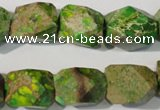 CDT932 15.5 inches 13*17mm faceted nuggets dyed aqua terra jasper beads