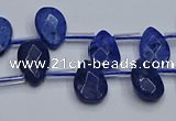CDU219 Top drilled 8*12mm faceted flat teardrop blue dumortierite beads