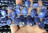 CDU220 Top drilled 13*18mm faceted flat teardrop blue dumortierite beads