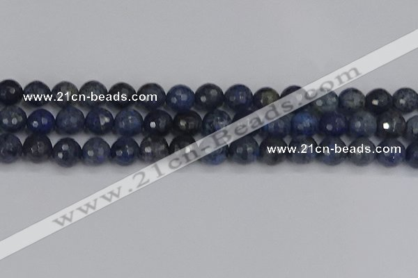 CDU319 15.5 inches 12mm faceted round blue dumortierite beads