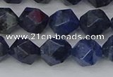 CDU332 15.5 inches 10mm faceted nuggets blue dumortierite beads