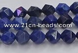 CDU336 15.5 inches 6mm faceted nuggets blue dumortierite beads