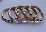 CEB06 5pcs 10mm width gold plated alloy with enamel bangles wholesale