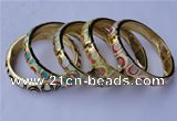 CEB10 5pcs 11.5mm width gold plated alloy with enamel bangles wholesale