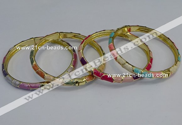 CEB100 6mm width gold plated alloy with enamel bangles wholesale