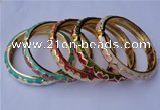 CEB11 5pcs 10mm width gold plated alloy with enamel bangles wholesale