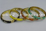 CEB115 7mm width gold plated alloy with enamel bangles wholesale