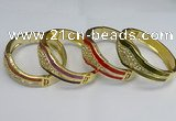 CEB129 22mm width gold plated alloy with enamel bangles wholesale