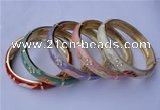 CEB15 5pcs 10mm width gold plated alloy with rhinestone & enamel bangles