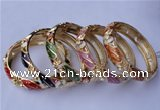 CEB16 5pcs 13.5mm width gold plated alloy with rhinestone & enamel bangles