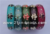 CEB19 5pcs 18mm width gold plated alloy with rhinestone & enamel bangles
