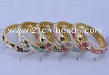 CEB39 5pcs 14mm width gold plated alloy with enamel bangles