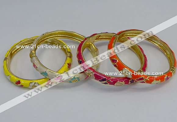CEB57 7mm width gold plated alloy with enamel bangles wholesale
