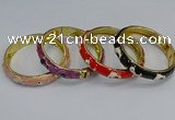 CEB63 9mm width gold plated alloy with enamel bangles wholesale