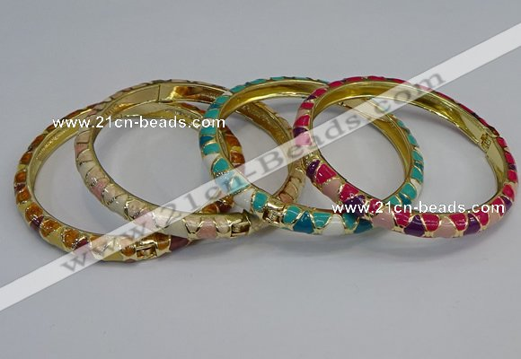 CEB86 7mm width gold plated alloy with enamel bangles wholesale